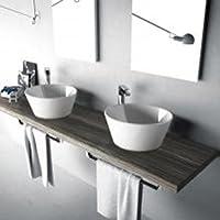 Évier lavabo rond design appui Wire 43cm en céramique blanc