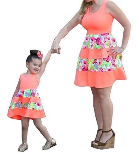 Minetom O-Collo Senza Maniche Vestito Per Madre e Figlia Vestire Casual Genitore-Bambino A-Line Mini Prom Abiti Abito da Sera Del Partito Arancione