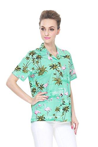 Hecho-en-Hawaii-Camisa-hawaiana-de-las-seoras-de-la-hawaiana-en-rosa-Flamenco-Palma-Turquesa