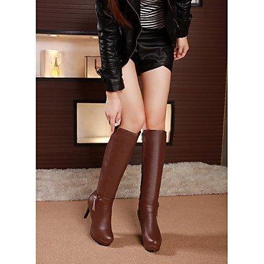 RTRY Scarpe Donna Similpelle Autunno Inverno La Moda Stivali Stivali Stiletto Heel Round Toe Ginocchio Alti Stivali Fibbia Per Abbigliamento Casual Nero Marrone US6.5-7 / EU37 / UK4.5-5 / CN37
