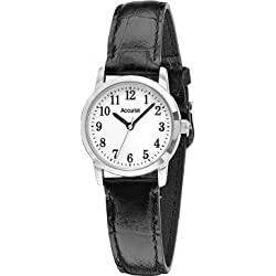 Accurist Womens Ladies LS674WA White Dial Black Leather Strap Wrist Watch
