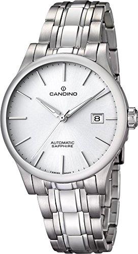 Candino Armbanduhr für Herren Saphir analog Elegant mit Edelstahl-Armband silber Automatik-Uhr UC4495/5
