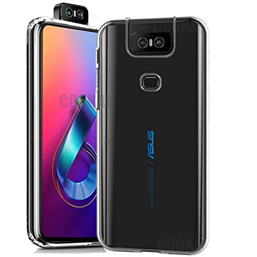 cookaR Cover ASUS Zenfone 6 2019 ZS630KL, Transparent Crystal Case Soft Silicone Ultra Thin Flexible TPU Shockproof Case Cover for ASUS ZS630KL, Black