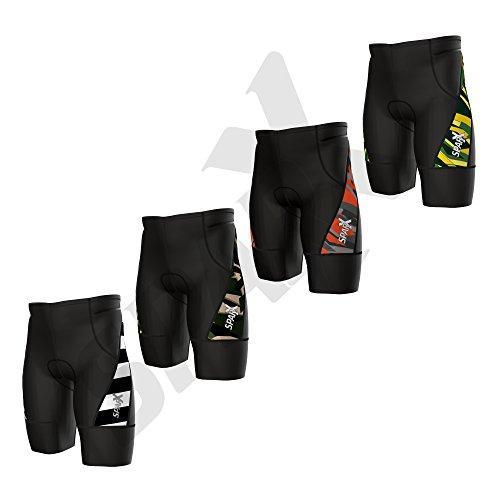 Sparx Herren aktivieren Triathlon Shorts Bedruckt Trishort | 2Easy Reach Pockets| Swim-Bike-Run, Olivgrün/Schwarz, Small