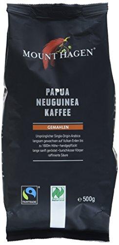 Mount Hagen Röstkaffee gemahlen 100 % Papua Neuguinea, FairTrade, 2er Pack (2 x 500 g) - Bio