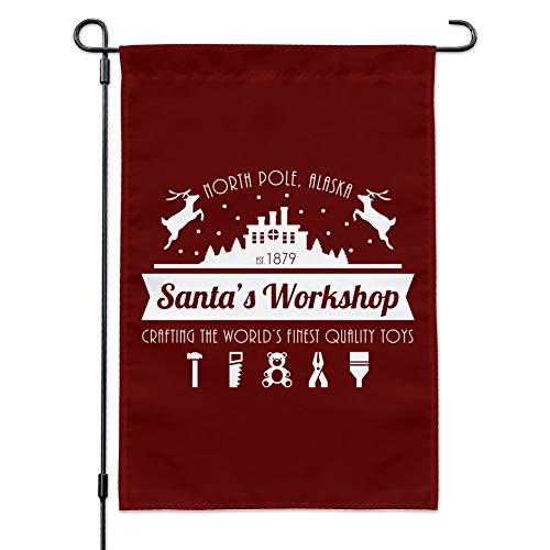 GRAPHICS & MORE Santa's Workshop Logo Weihnachtsspielzeug Nordpol Alaska Garten Hofflagge mit Stangenhalter
