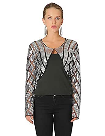 Metme Womens Shrugs Shiny Sequin Long Sleeve Front Open Bolero 1920's Flapper Stole Sequined Jacket Cape Cropped Cardigan Black Silver, XS, UK 8