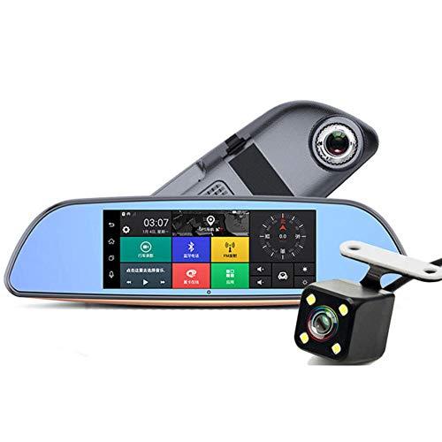 SPFCAR 7 Zoll 3G doppelte Aufnahme, die Rückansicht-Androide Sprachsteuerung-Bluetooth-Auto-GPS-Navigator-Rückspiegel, der Recorde fährt, aufhebt Dash 3g Usb