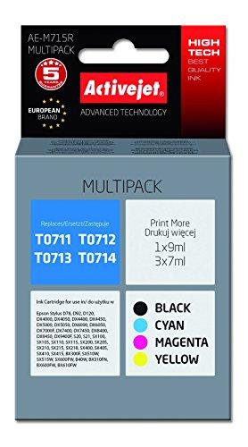 Preisvergleich Produktbild ActiveJet EXPACJAEP0250 Tinte AE-M715R Refill für Eps T0715, Multipack, schwarz/cyan/magenta/gelb