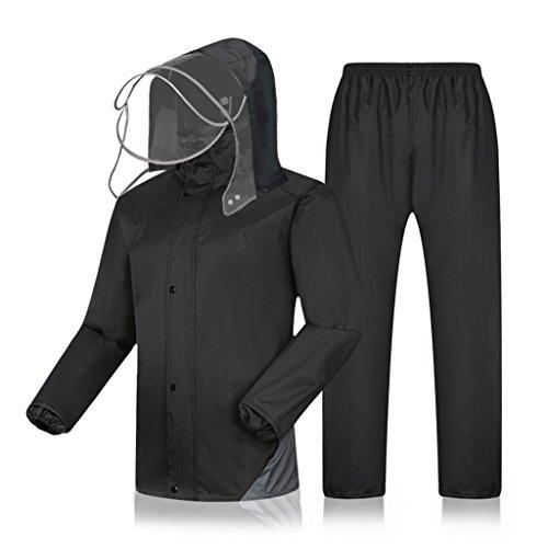 LAXF-Regenjacken Regenanzug für Männer Regenkleidung (Regenjacke und Regenhosen Set) Erwachsene mit Kapuze Outdoor Arbeit Motorrad Golf Angeln (Farbe : A, Größe : L)