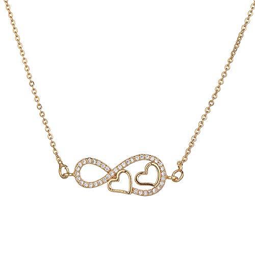 NSXLSCL Halsketten Für Frauen,Hohle Herzen Halskette Liebhaber Hochzeit Schmuck Kupfer Zirkonia Infinity Anhänger Kette Halsketten Für Frauen, Gold