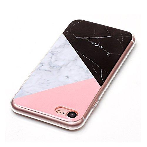 Cover per iPhone 8, CLTPY iPhone 7 Sottile Copertura in Silicone Morbido con Design Marmo Colorato Belle per Apple iPhone 7/8 + 1 x Stilo Libero - Gris Colore 3in1