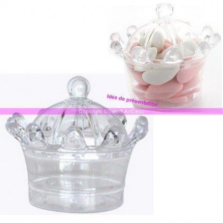 Fetez Lot de 3 boites Plastiques Cristal Coffret de Princesse, Contenant Alimentaire sécable de 8x6cm, à garnir