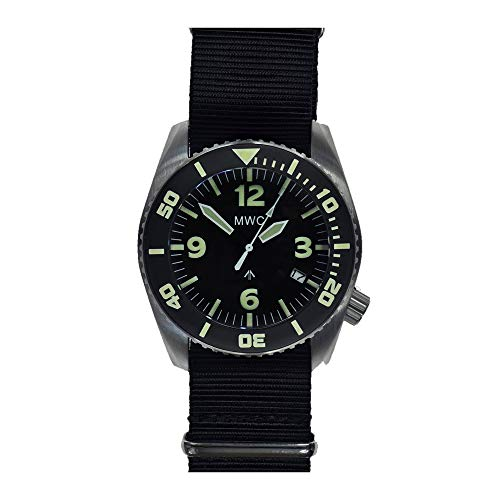 d575753536b MWC Dephtmaster 1000mt Automatic Black Steel Sapphire Ceramic Date Diver  Fabric NATO Military Men s Watch