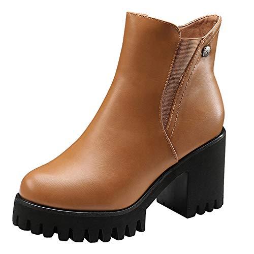 MYMYG Damen Stiefeletten Frauen High Heel Schuhe Martain Boot Leder einfarbig Runde Zehe Reißverschluss Schuhe Ankle Boots mit Halbhohe Blockabsatz Chelsea ()