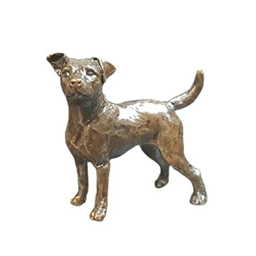 Bronze Jack Russell Terrier Hund-Bronze Miniatur-Figur-Butler & Peach. -