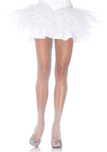 Leg Avenue 9012A - Halloween Special Netz Strumpfhosen, Einheitsgröße, weiß/Silber -