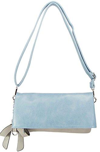 CASAdiNOVA Tasche Helle Damenhandtasche Umhängetasche Blau Klein Handtasche Clutch Set Leder Vegan(29/16/3cm) 2in1