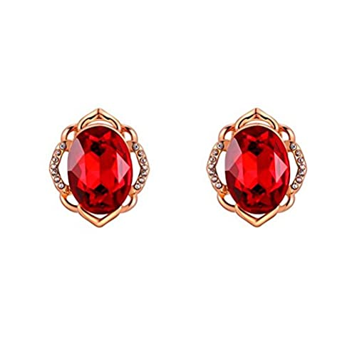 PAURO Damen Rose Gold überzog roter Rubin Oval österreichische Kristall