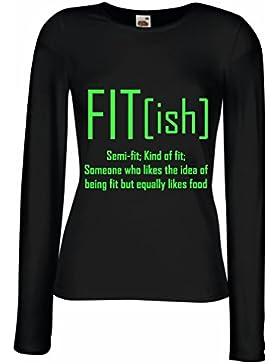 Camisetas de Manga Larga para Mujer Fit - Ish Definición. Ejercicio - Entrenamiento - Gimnasio, Idea de Regalo...