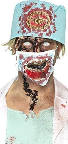 Fancy Me Damen Herren Zombie Chirurg Hut Maske Latex Spezialeffekte Instant Halloween Kostüm Zubehör Set