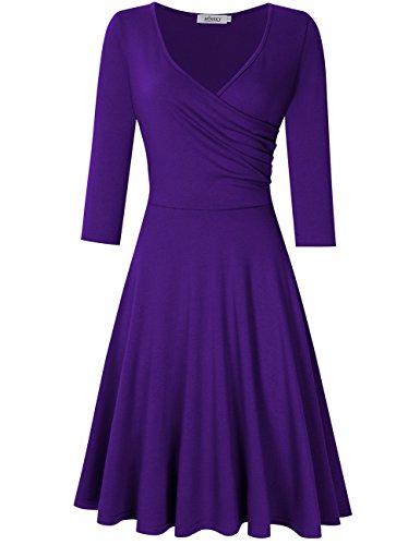 Women A-line Dress V-neck 3/4 Sleeve Fit Flare Dress Purple 2XL
