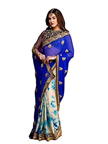 Stylee Lifestyle Royal Blue Chiffon Embroidered Saree