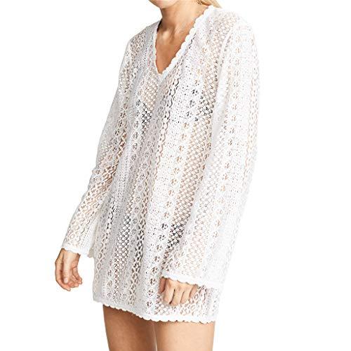 VJGOAL Damen Bikini Kittel, Frauen Elegant Sexy V-Ausschnitt Spitze Bikini Bluse Sommer Mode Transparent Seaside Urlaub Sonnenschutzhemd ()