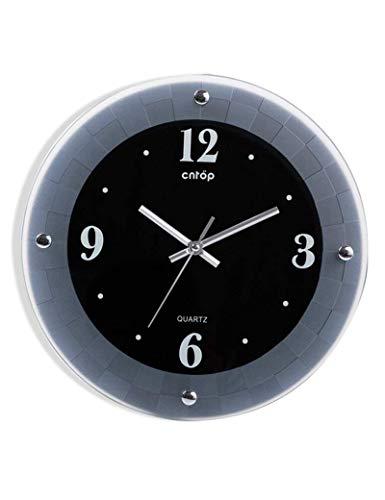 QBZ Bell-Wanduhr Metall Genaue 10 Zoll Runde Glas Dekoration Mattglas Wohnzimmer Schlafzimmer 1 X AA Batterie (Nicht Enthalten)