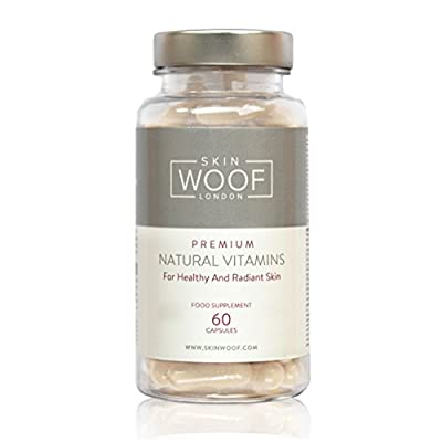 Skin Woof Natural Supplement for Healthy, Radiant and Beautiful Skin | Contains Vitamins A, C & E, Minerals, Collagen and Hyaluronic Acid - One Month Supply - 60 Capsules by Skin Woof