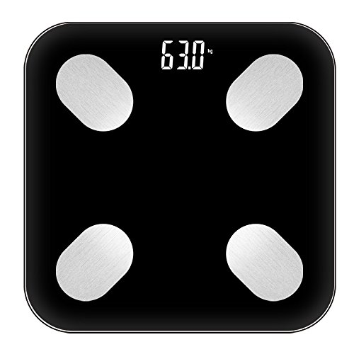 HUIFEI Bluetooth Smart Körperfettwaage Messung Fett Wiegende Skala Genau Nach Hause Elektronische Waage Gewicht Wiegen 180kg WiFi Synchronisation (Farbe : SCHWARZ)