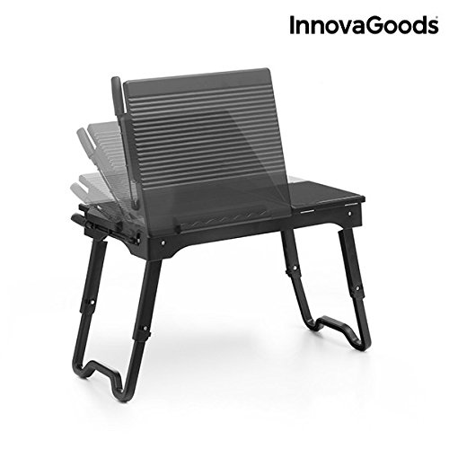 InnovaGoods IG114178 - Mesa Plegable con LED para Portátil, color negro