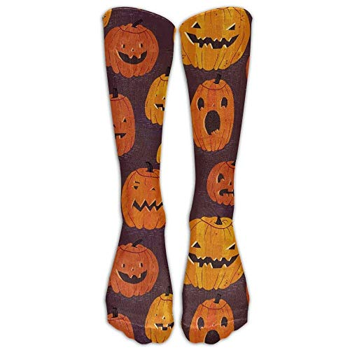 (Cartoon Cute Halloween Pumpkin Athletic Tube Stockings Women Men Classics Knee High Socks Sport Long Sock One Size)