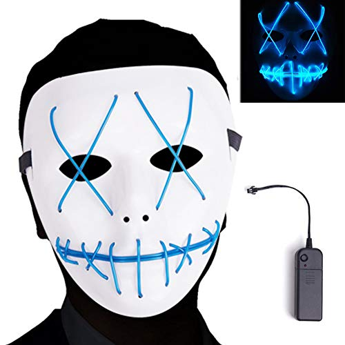 AnseeDirect Purge Mask Horror Máscara Halloween LED Máscaras para Fiestas del Festival