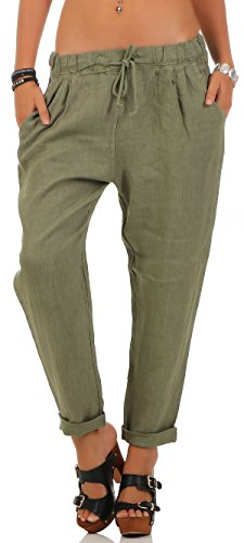 Malito Damen Hose aus Leinen | Stoffhose in Unifarben | Freizeithose für den Strand | Chino - Jogginghose 6816 (Oliv, L)