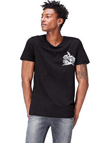 FIND T-Shirt Herren mit Print und Lockerer Passform Schwarz (Black/white/classic Red)