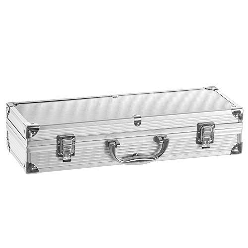 41I4jQm2XfL - Edelstahl Profi Grillbesteck-Set 5-teilig im Aluminium-Koffer BBQ Grill-Utensilien Besteck Zubehör fürs Grillen
