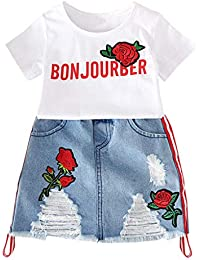 K-youth Conjunto Bebé Niña Verano Ropa Bon jourber Carta Niñas Camiseta Estampado Flor de
