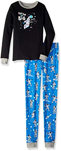 c Cotton Long Sleeve Appliqué Pyjama Set Zweiteiliger Schlafanzug, Schwarz (Glow In The Dark Dream Big), 8 Jahre ()