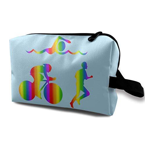 Regenbogen-Triathlon-Reise-Make-up sackt Kosmetik-Taschen-Reißverschluss EIN