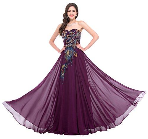 elegante kleider 2018 festkleid damen Purpur brautjungfernkleider lang ärmelloses kleid 54 CL675-1