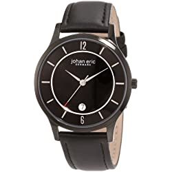 Johan Eric Hobro Men's Quartz Watch with Black Dial Analogue Display and Black Leather Strap JE2003-13-007