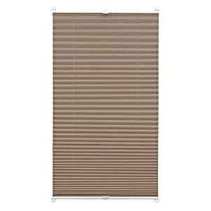 Gardinia EASYFIX Pleated Blind with 2 Operating Rails Taupe 75 x 130, Fabric 100% Polyester 75 x 130 cm