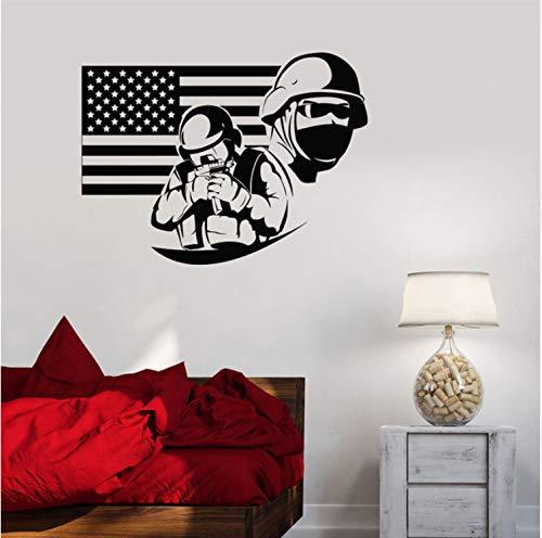 HLZLA Vinyl Aufkleber Amerikanische Flagge Soldat Military War USA Decor Wandaufkleber Kunstwand Schlafzimmer wohnkultur 58x43 cm