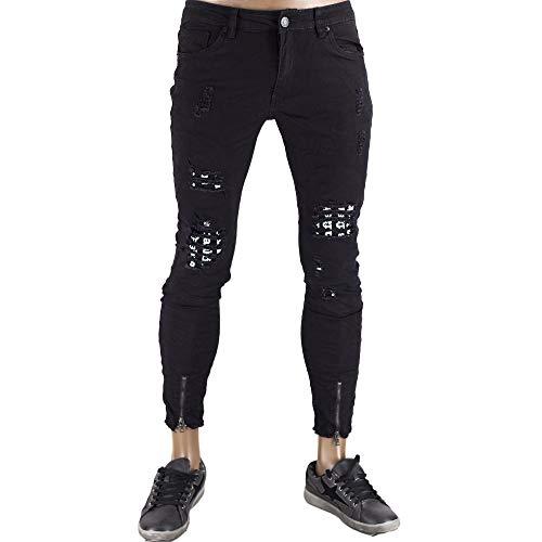 Rush pantaloni elasticizzati uomo vestibilità slim fit strappati jeans stretti alla caviglia aderenti skinny modello capri particolare e strano fresco estivo stile street toppe zip (nero, 42)