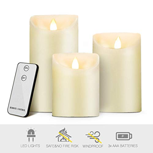 Lot de 3 Bougies LED Flamme Vacillante,Bougie en Cire sans Fumée,Minuteur et Télécommande,7.5cm de Diamètre,Haut de 10,12.5,15cm,Décoration Mariage,Eglise,Soirée,Jardin,Alimentation par 3*AAA Piles
