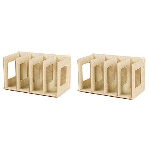 Preisvergleich Produktbild CD Ständer,  Lommer 2 Stück DIY DVD Ständer Kreativ Tischplatte CD / DVD Regal Holz Buchständer Bücherregal (Eiche)