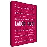 Feel Good Art Laugh Much - Cuadro decorativo (30,4 x 20,3 cm), diseño con texto en inglés, color rojo y magenta
