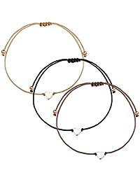 Yadoca 3 Stück Seil Herz Armband für Frauen Mädchen Paar Einfach Liebes Herz  Einstellbar ... 4d84d14d3c