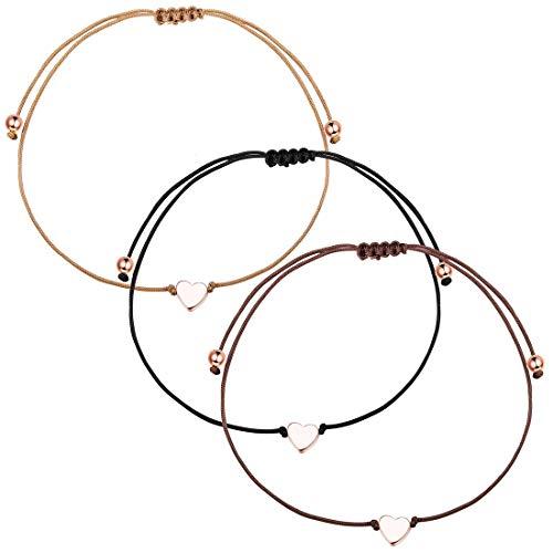 Yadoca 3 Piezas Pulsera de Cuerda de Corazón para Mujeres Niñas Pareja Sencillo Amor Corazón Ajustable Pulsera de Cuerda